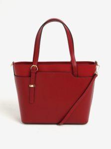 Červená dámska kožená kabelka do ruky/crossbody kabelka s hadím vzorom KARA