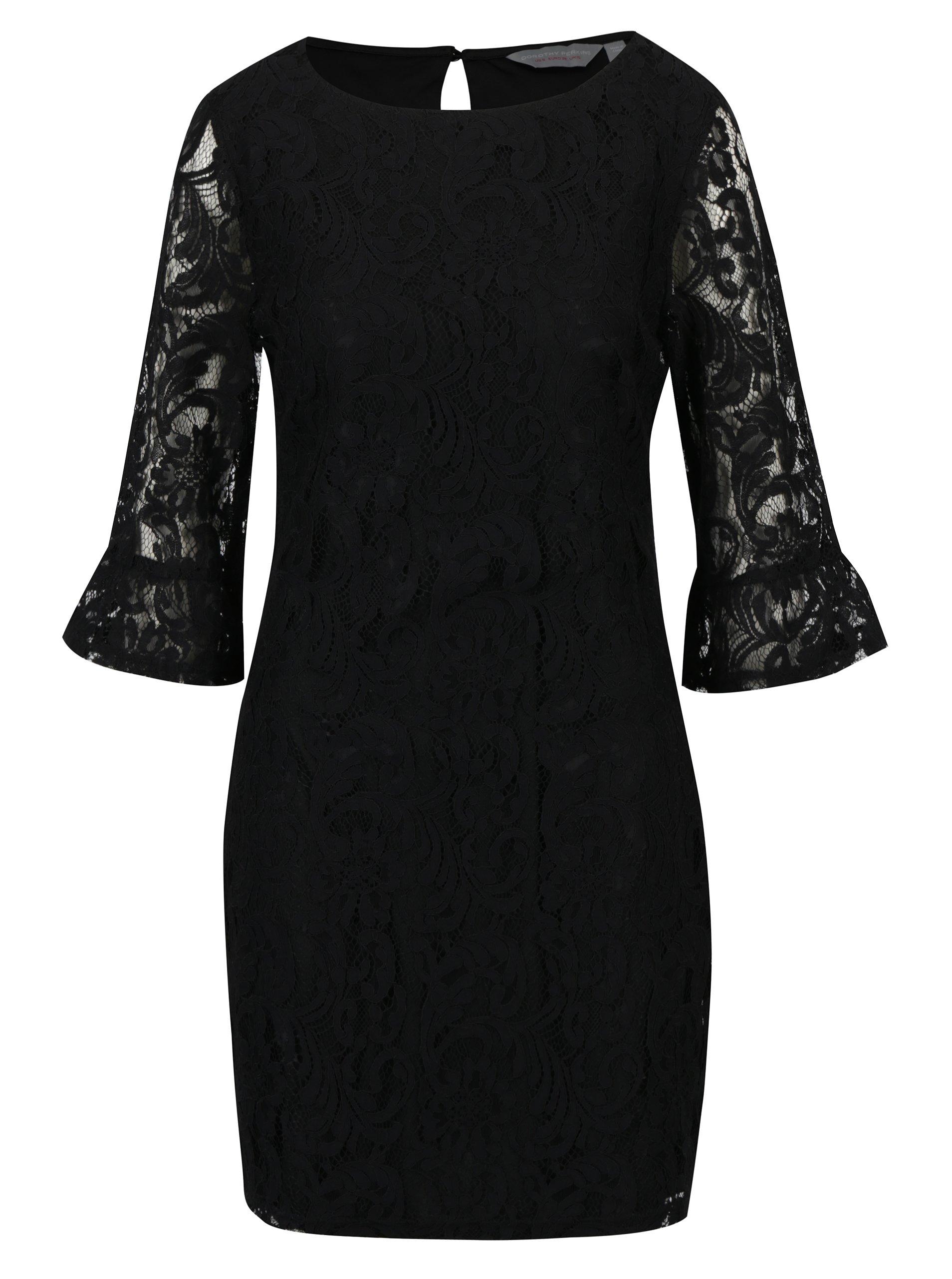 33c2853a1e6a Čierne čipkované šaty Dorothy Perkins Petite