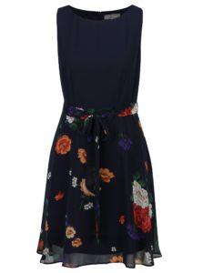 Tmavomodré kvetované šaty bez rukávov Billie & Blossom