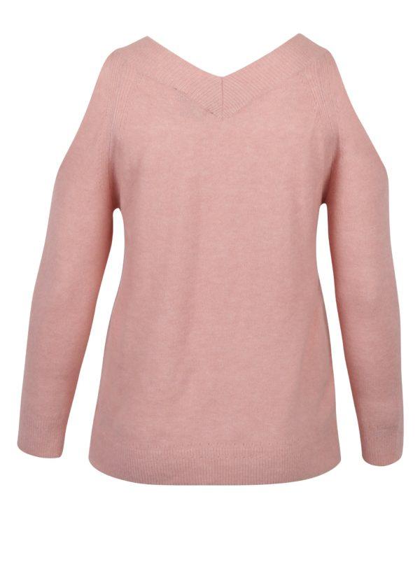 Svetloružový sveter s prestrihmi na ramenách Dorothy Perkins Curve