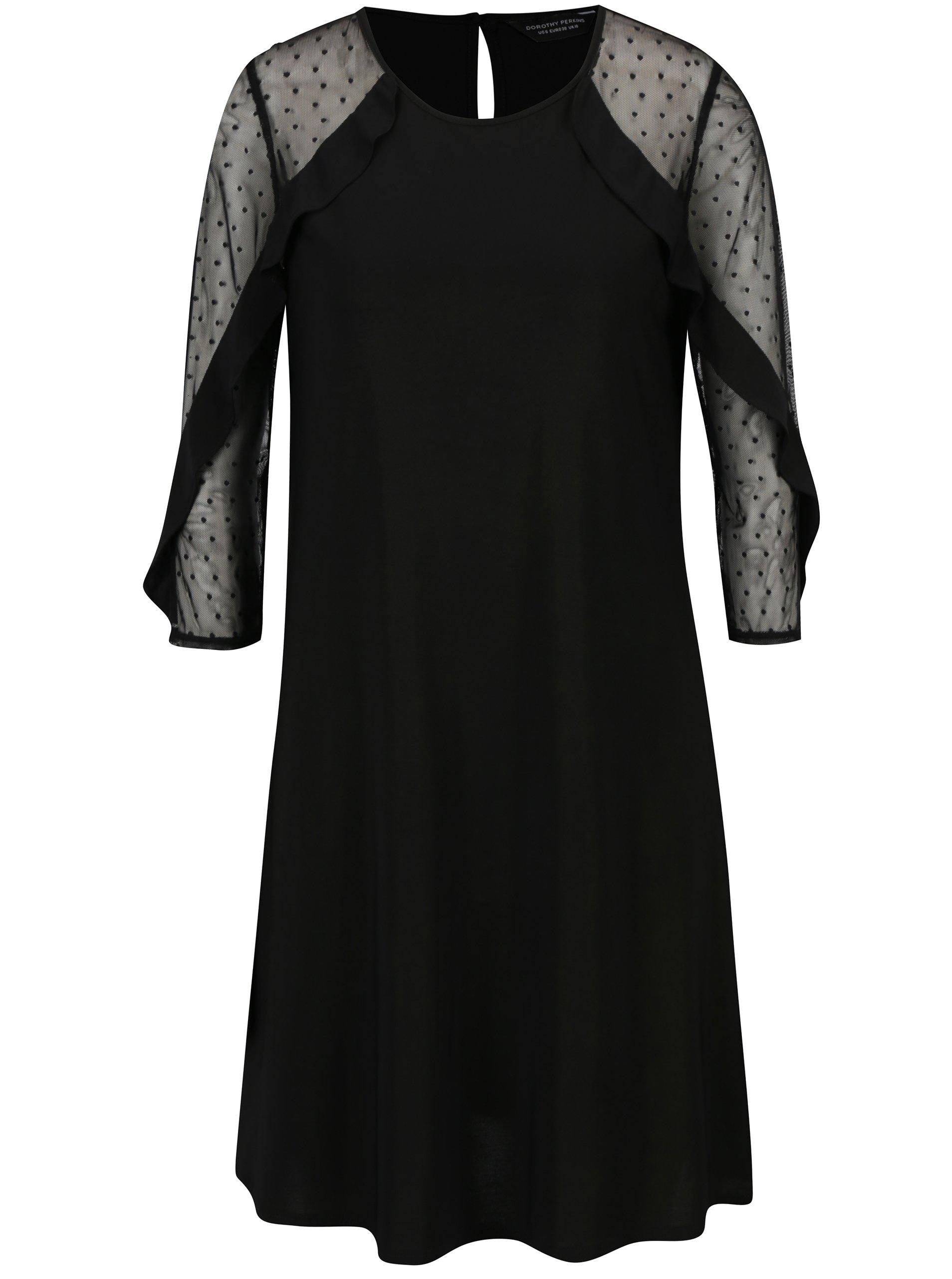 289d3413c62 Čierne šaty s priesvitnými rukávmi Dorothy Perkins