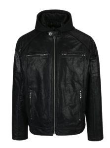 Čierna pánska kožená bunda s kapucňou KARA Dorian