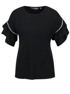 Sivé tričko s volánmi a korálikmi na rukávoch Dorothy Perkins Petite