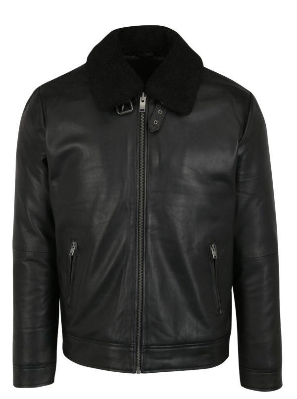 Čierna kožená bunda s odnímateľným golierom Selected Homme Teddy