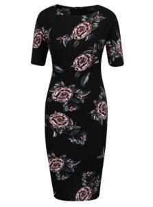 Čierne kvetované puzdrové šaty s krátkym rukávom AX Paris