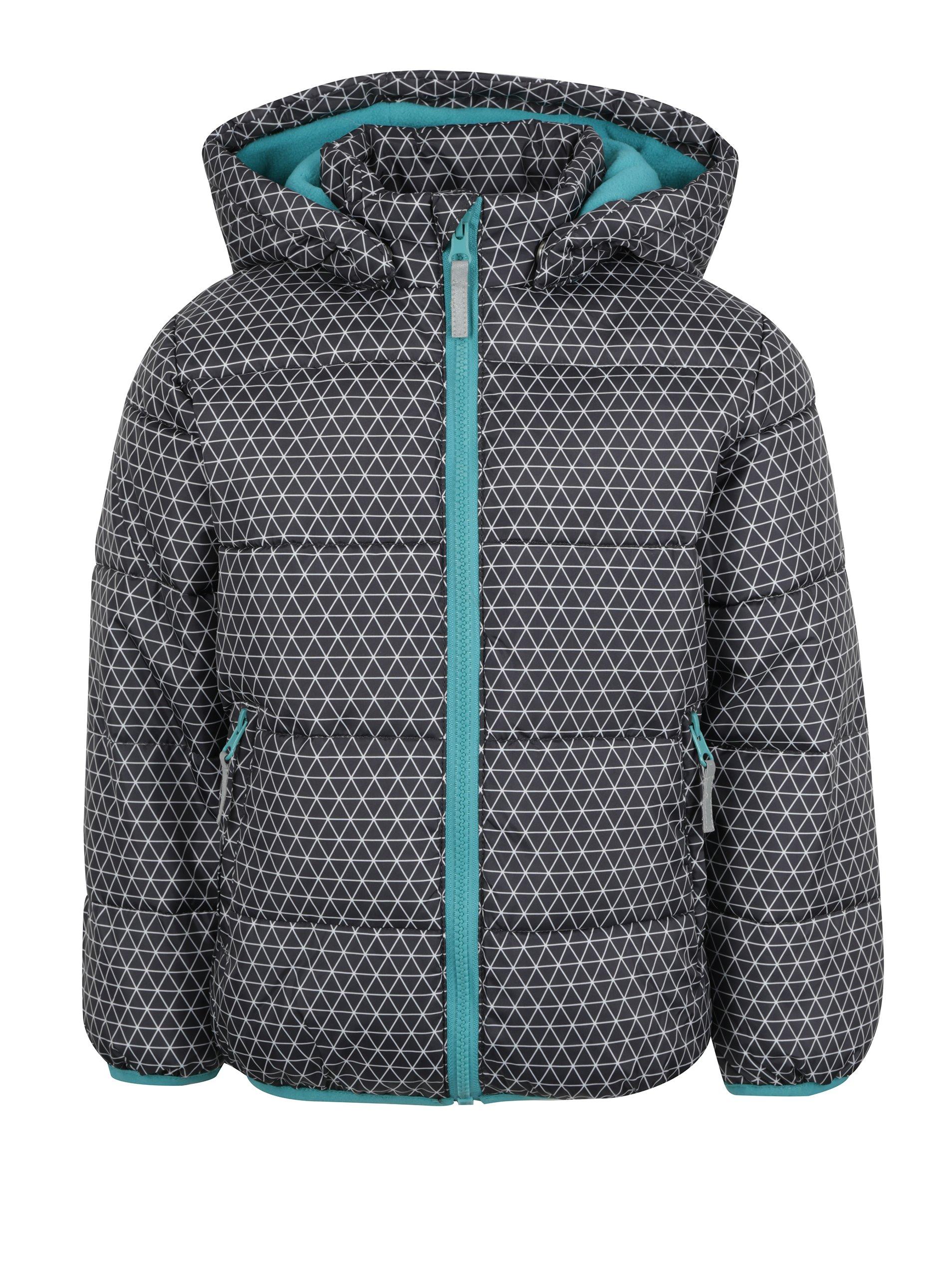 Tmavosivá chlapčenská zimná prešívaná bunda s kapucňou Blue Seven ... e986efbdc0f