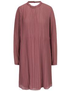 Staroružové plisované šaty s prestrihom na chrbte VILA Slet