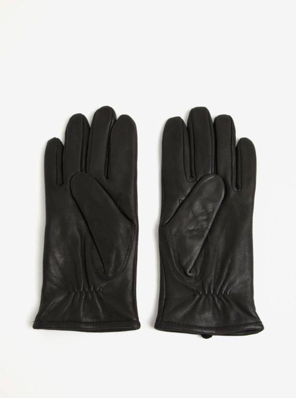 Čierne kožené rukavice Selected Homme Morten
