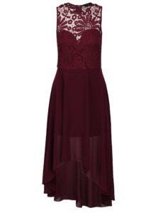 Vínové šaty s čipkovaným topom AX Paris