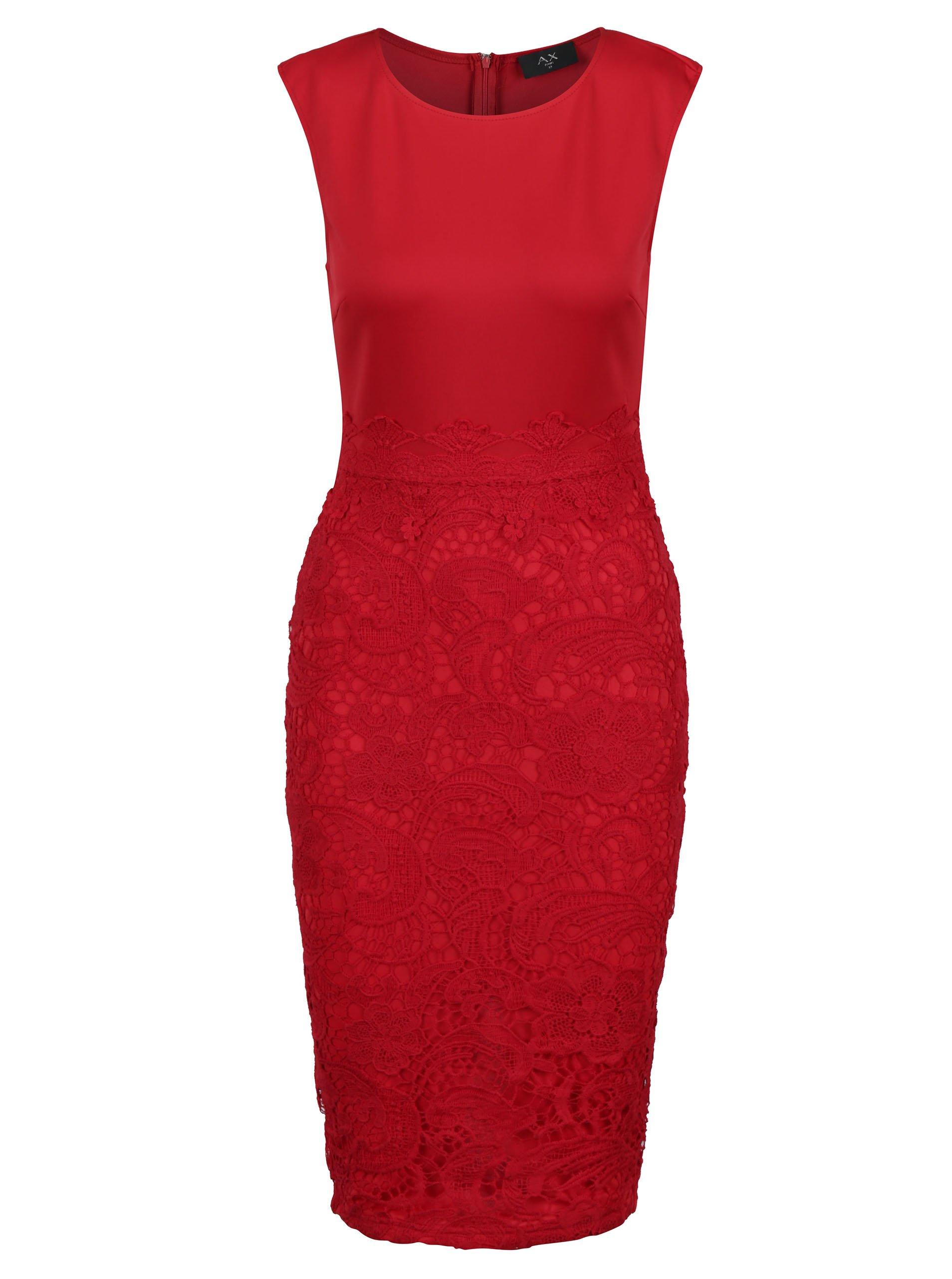 Červené puzdrové šaty s čipkou AX Paris  fce3e1f61f5