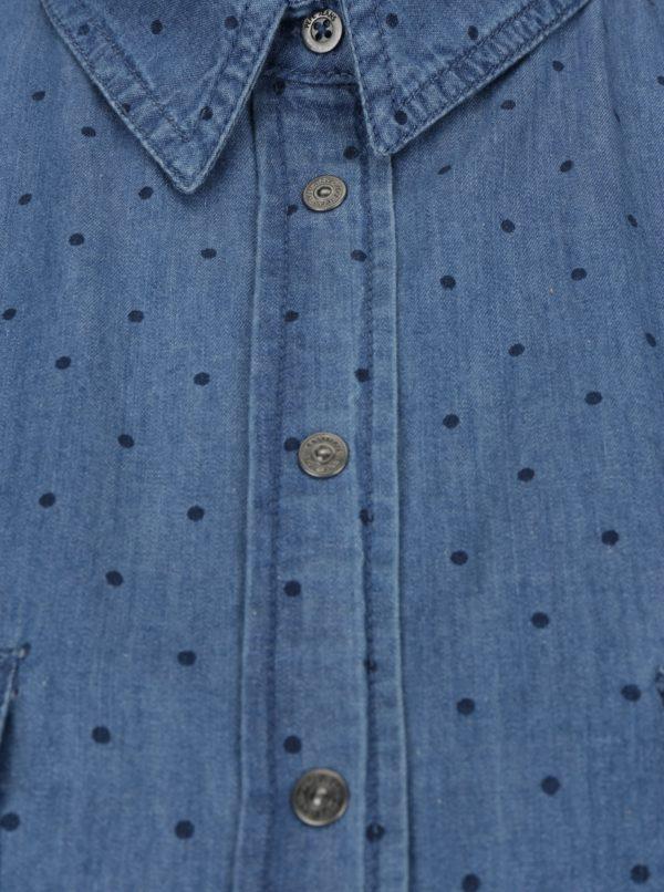 436181bc9e08 Modrá dámska rifľová bodkovaná košeľa Pepe Jeans Monique