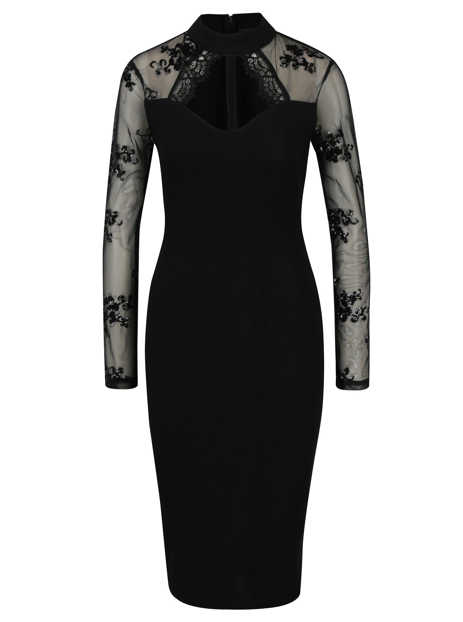 a03f8b01170e Čierne puzdrové šaty s prestrihom v dekolte a priesvitným rukávom AX Paris