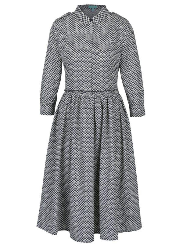 Modro-biele vzorované šaty s 3/4 rukávmi Fever London Monaco