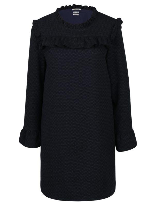 Tmavomodré šaty s volánmi a dlhým rukávom Rich & Royal