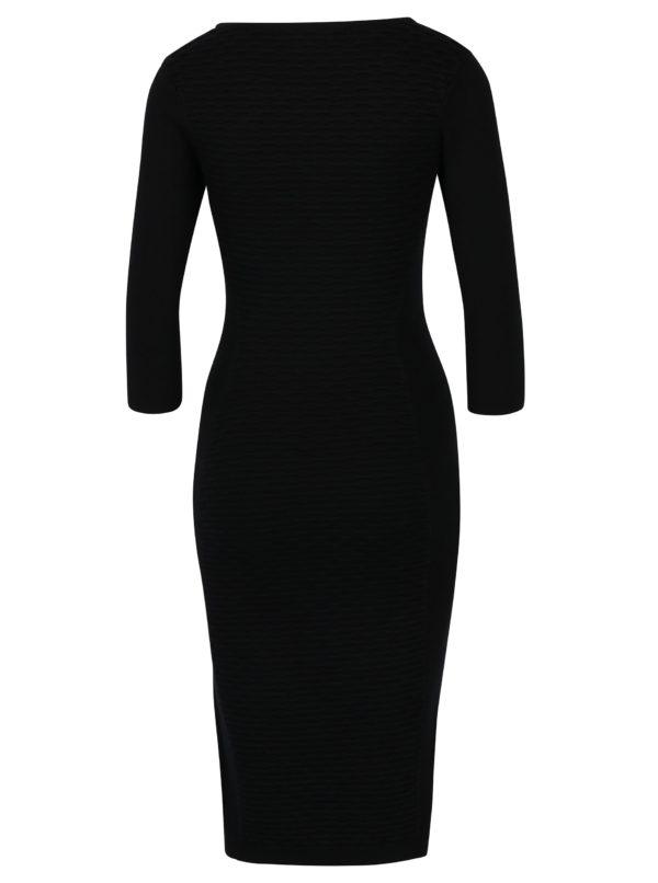 Čierne puzdrové šaty s 3/4 rukávmi Fever London Valentina