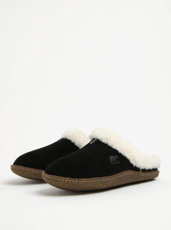 Čierne dámske semišové papuče s umelým kožúškom SOREL