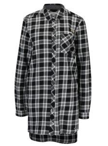Bielo-čierna dámska dlhá károvaná košeľa s.Oliver
