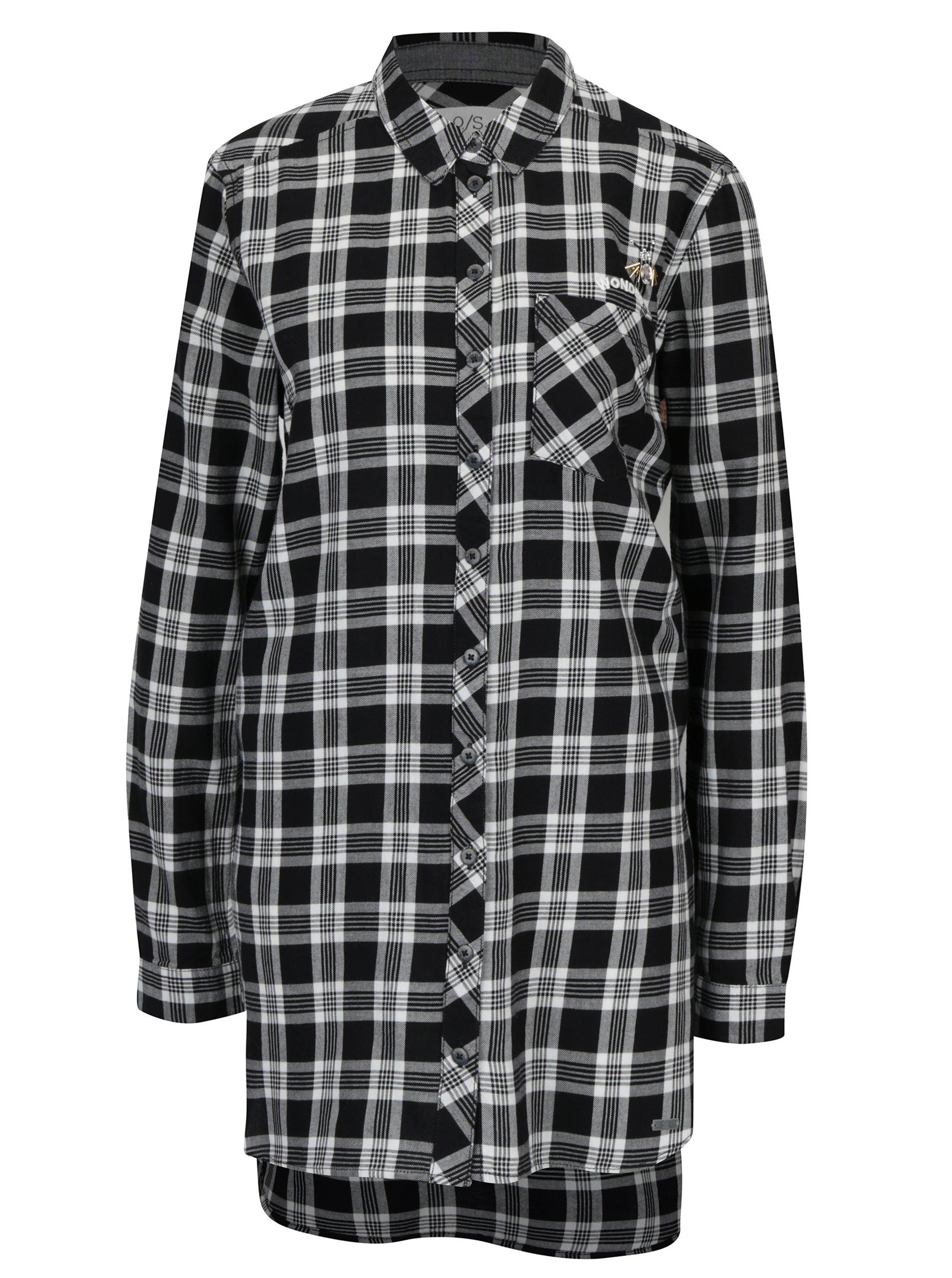 b5d9505a2f50 Bielo-čierna dámska dlhá károvaná košeľa s.Oliver