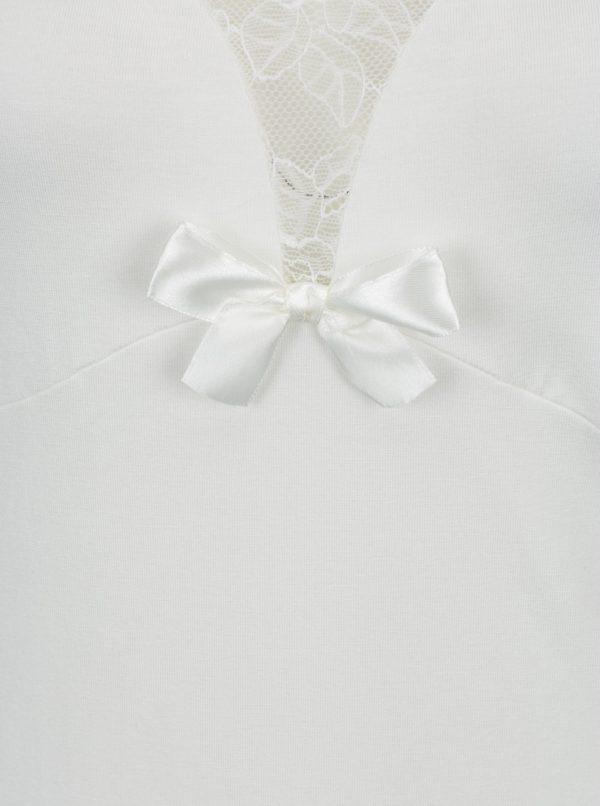 Krémová nočná košieľka s čipkovanými detailmi Eldar Ines
