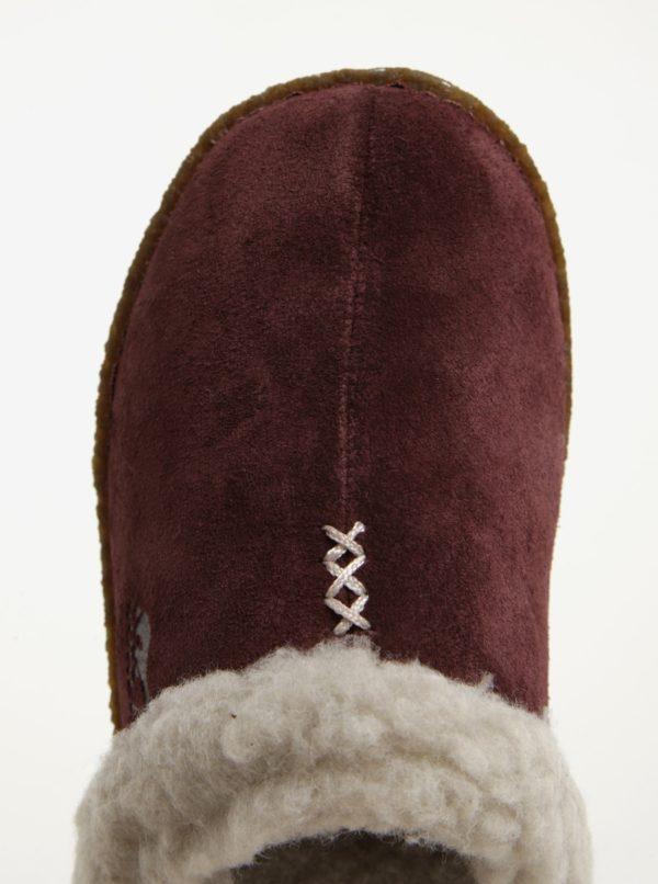 Vínové dámske semišové papuče s umelým kožúškom SOREL
