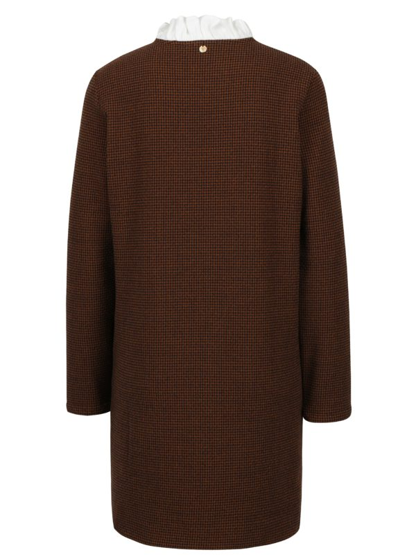 Modro-hnedé vzorované svetrované šaty s prímesou vlny Rich & Royal