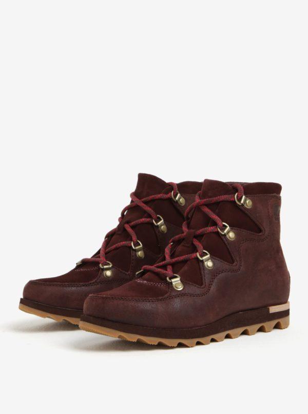 e2a11fb42411f Vínové dámske členkové kožené vodovzdorné zimné topánky SOREL | Moda.sk