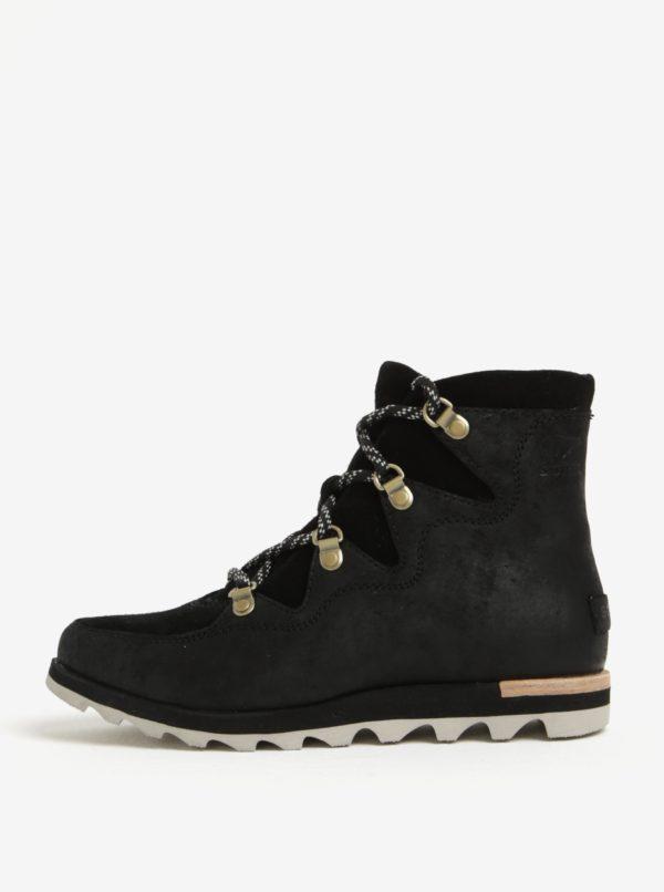 Čierne dámske členkové kožené vodovzdorné zimné topánky SOREL
