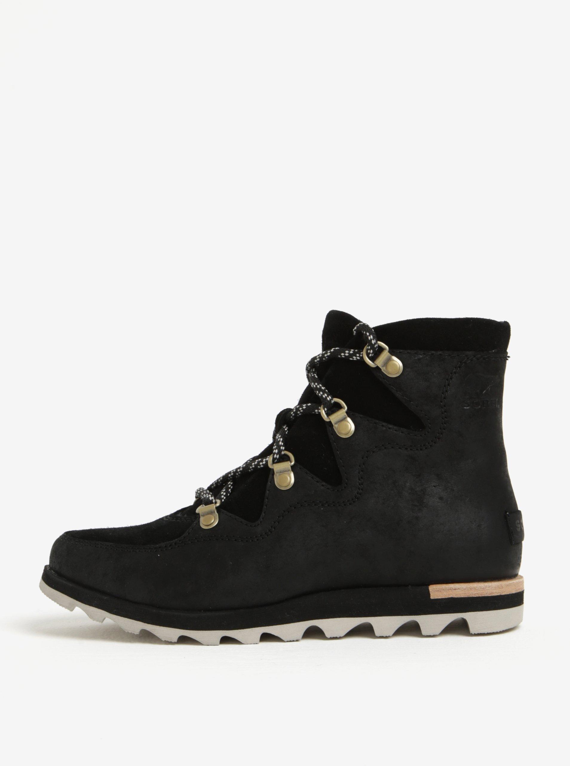7b63a9561d Čierne dámske členkové kožené vodovzdorné zimné topánky SOREL