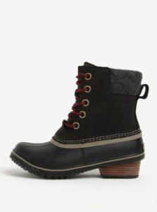 Čierne dámske členkové kožené vodovzdorné zimné topánky na nízkom podpätku SOREL