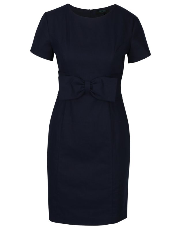 Tmavomodré puzdrové šaty s mašľou Fever London Martha