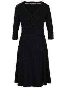 Čierne šaty s prekladaným výstrihom Fever London Andrea