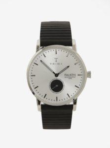 Unisex hodinky v striebornej farbe s čiernym koženým remienkom TRIWA Charles Falken