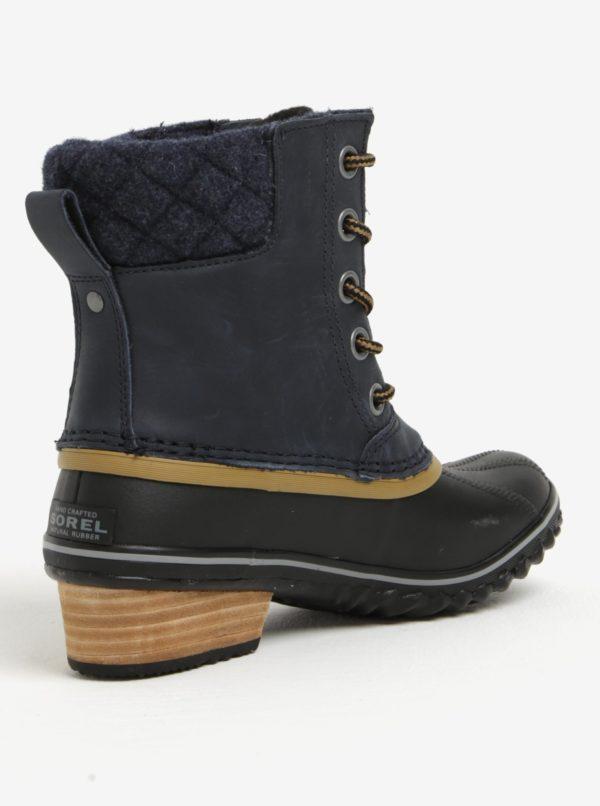 98c5056ce15c9 Modré dámske členkové kožené vodovzdorné zimné topánky na nízkom podpätku  SOREL
