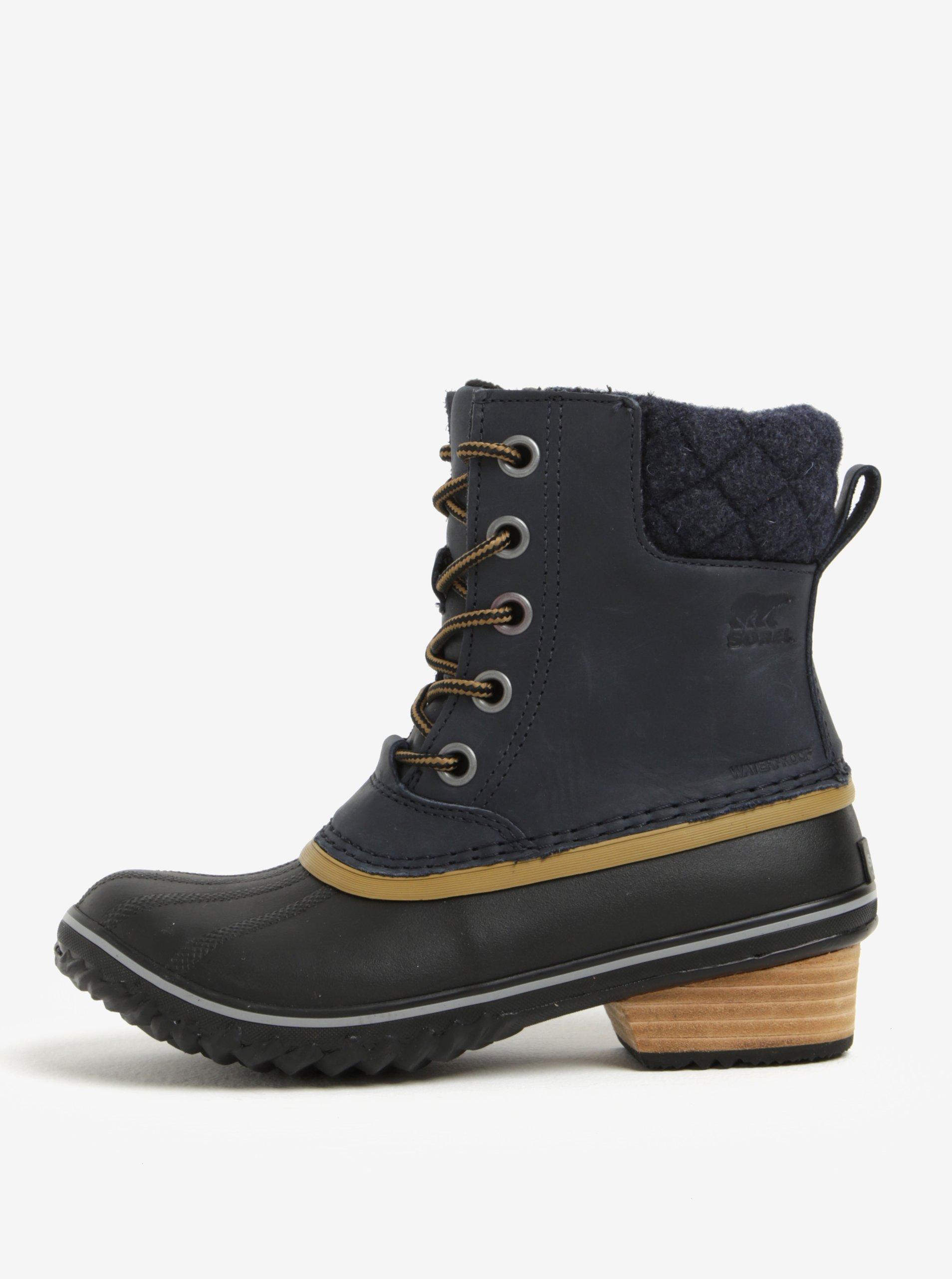 f0ef59c438 Modré dámske členkové kožené vodovzdorné zimné topánky na nízkom podpätku  SOREL