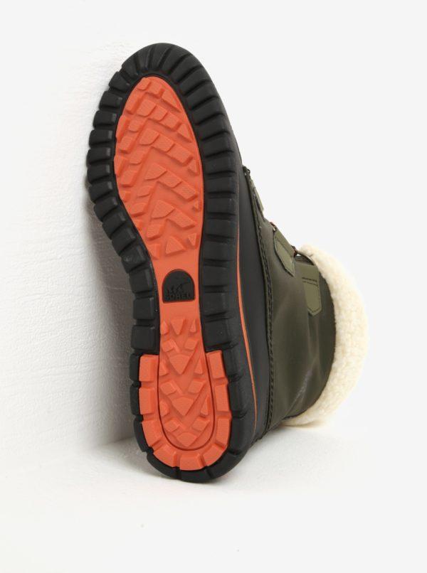 Kaki dámske členkové vodovzdorné zimné topánky s umelým kožúškom SOREL