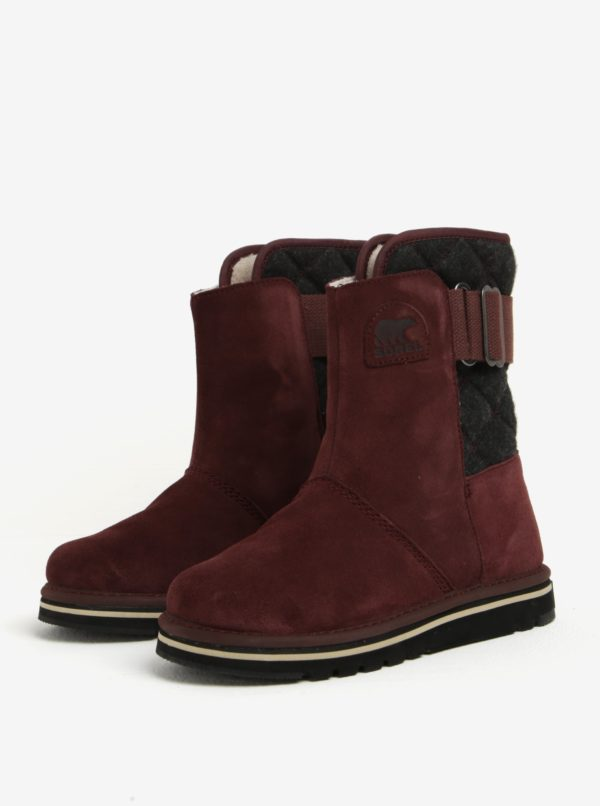 Vínové semišové členkové vodovzdorné zimné topánky SOREL Newbie