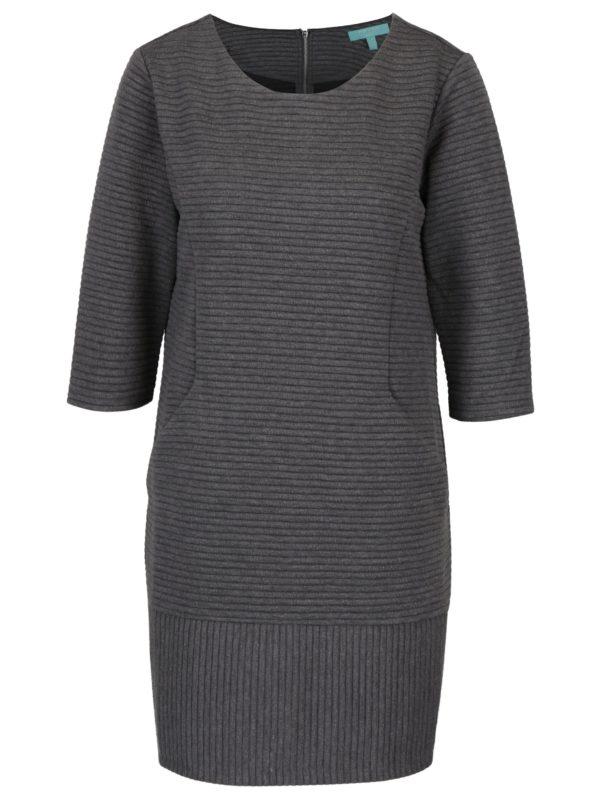 Sivé rebrované šaty s 3/4 rukávom Fever London Freya