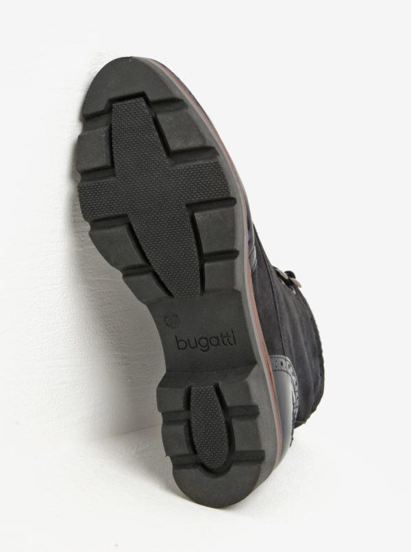 Čierne kožené členkové topánky s lesklými detailmi bugatti Gesa