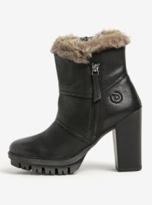 Čierne kožené členkové topánky na podpätku bugatti Jaimie