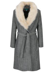 Čierno-biely vzorovaný kabát s umelým kožúškom Fever London Enid