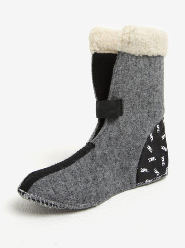 Tmavosivé dámske kožené vodovzdorné zimné topánky s umelým kožúškom SOREL