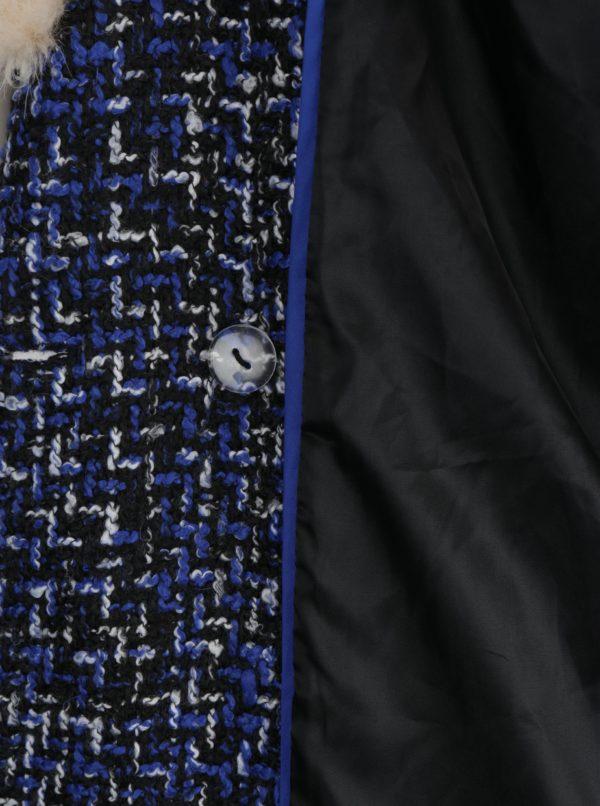 Modro-čierny vzorovaný kabát s umelým kožúškom Fever London Enid