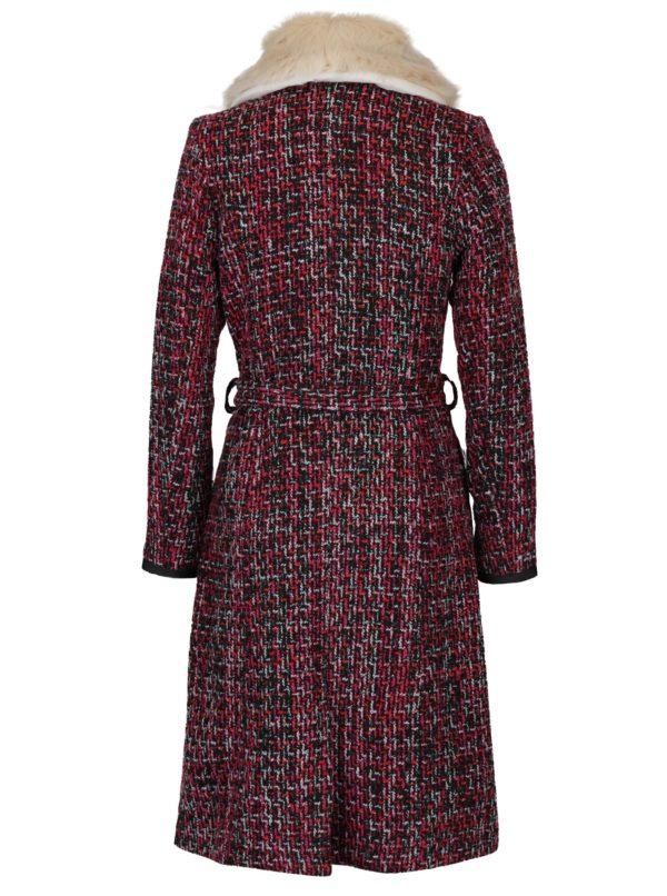 Ružový-čierny vzorovaný kabát s umelým kožúškom Fever London Enid
