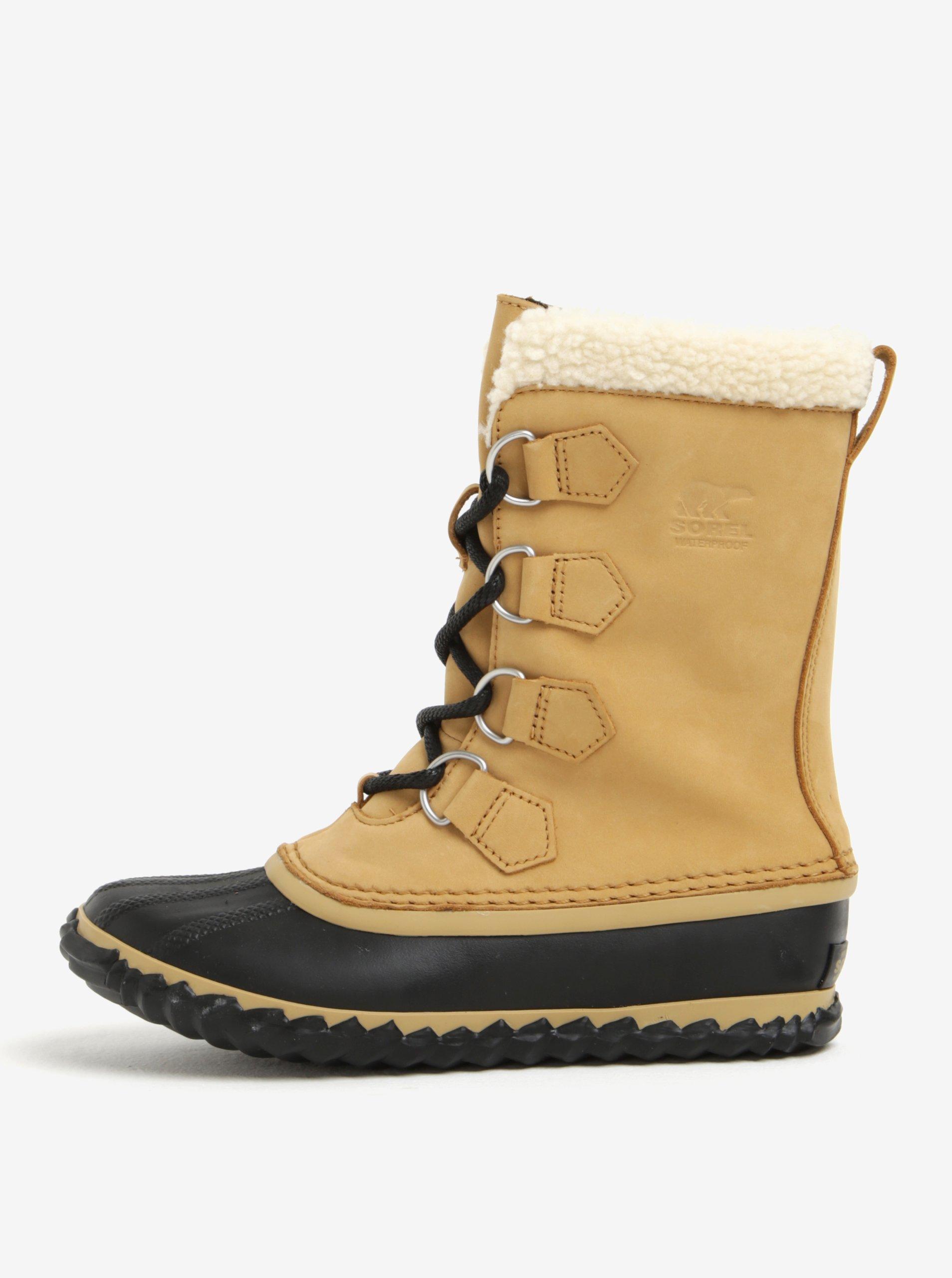 87b9da3a5e Béžové dámske kožené vodovzdorné zimné topánky s umelým kožúškom SOREL
