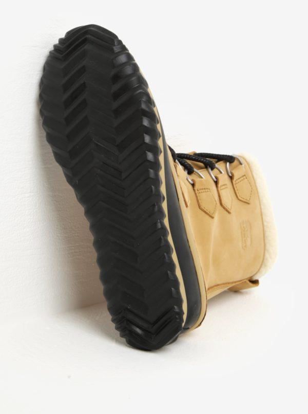 Béžové dámske kožené vodovzdorné zimné topánky s umelým kožúškom SOREL