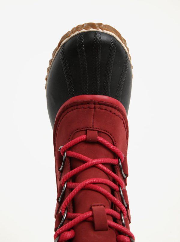 Červené dámske kožené vodovzdorné zimné topánky s umelým kožúškom SOREL