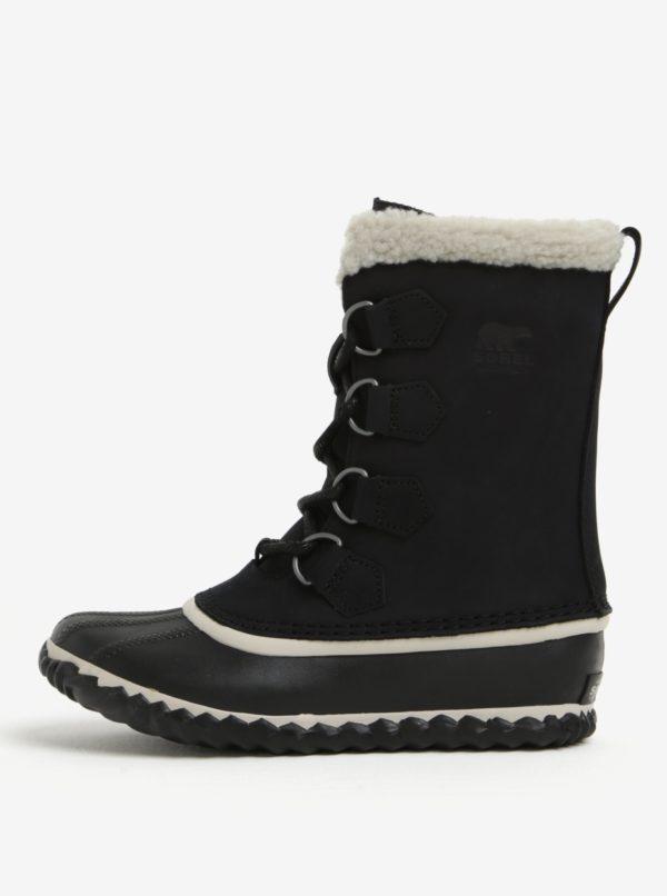 Čierne dámske kožené vodovzdorné zimné topánky s umelým kožúškom SOREL