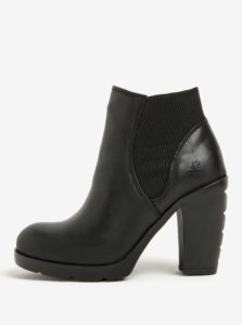 Čierne dámske kožené chelsea topánky na vysokom podpätku Fly London 58339b9b2e9