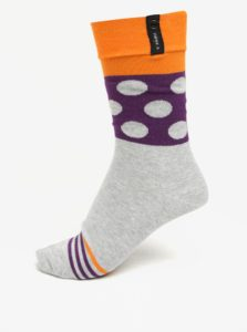 Oranžovo-sivé vzorované unisex ponožky V páru