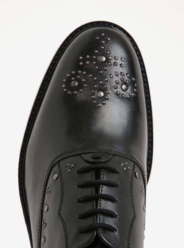 Čierne pánske kožené poltopánky s kovovými detailmi London Brogues Brut Oxford